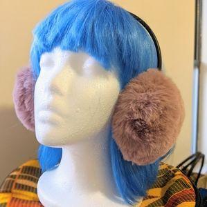 ZARA pink furry earmuffs